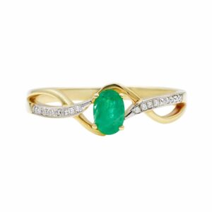 0.41 carat Emerald Ring , 14 karat yellow Gold, set with Diamonds