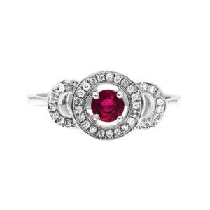 טבעת אבן רובי 0.33 קראט, זהב -לבן 14 קראט, משובצת יהלומים