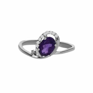 0.72 carat amethyst ring, 14 carat white-white, set with 0.15 carat diamonds