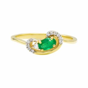 0.25 carat Emerald Ring , 14 karat yellow Gold, set with Diamonds