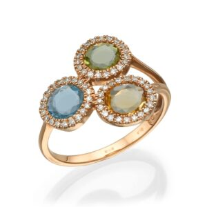 0.96 carat Citrine, Peridot and Blue Topaz gemstones on a 14 carat red Gold Ring set with Diamonds