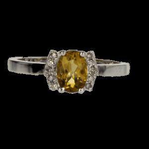 0.75 carat citrine ring, 14 carat gold-white, set with 0.08 carat diamonds