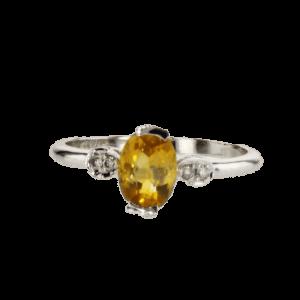 טבעת סיטרין 0.9 קראט, זהב-לבן 14 קראט, משובצת 0.06 קראט יהלומים