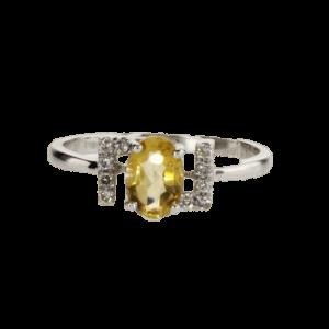 0.62 carat citrine ring, 14 carat gold-white, set with 0.15 carat diamonds