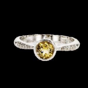 0.58 carat citrine ring, 14 carat gold-white, set with 0.12 carat diamonds