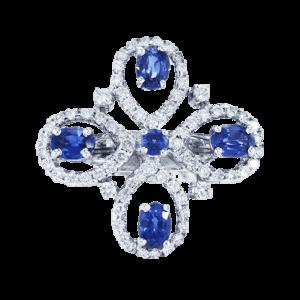 טבעת ספיר 1.28 קראט, זהב-לבן 18 קראט, משובצת יהלומים