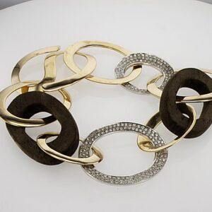 צמיד יהלומים 1.19 קראט, זהב צהוב ולבן 18 קראט