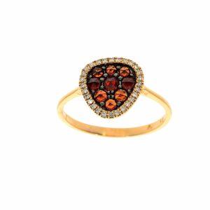 טבעת אבני רובי 0.51 קראט משובצת יהלומים 0.09 קראט זהב ורוד 14 קראט