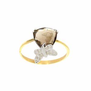 טבעת אבן סמוק טופז 2.06 קראט, זהב-צהוב 9 קראט, משובצת יהלומים