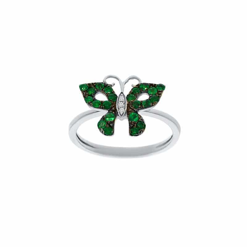 טבעת אמרלד 0.38 קראט, זהב-לבן 9 קראט, משובצת יהלומים