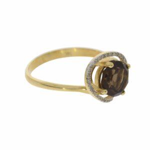 טבעת אבן סמוק טופז 1.89 קראט, זהב-צהוב 14 קראט, משובצת יהלומים