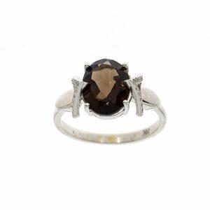 טבעת סמוק טופז 3.54 קראט, זהב-לבן 14 קראט,משובצת יהלומים