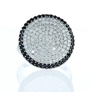 טבעת יהלומים שחורים ולבנים 2.00 קראט, זהב לבן 18 קראט