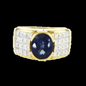טבעת ספיר צאלון 2.93 קראט, זהב-צהוב 18 קראט, משובצת יהלומים
