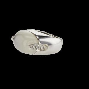 טבעת אבן קוורץ 14.40 קראט, זהב-לבן 18 קראט, משובצת יהלומים