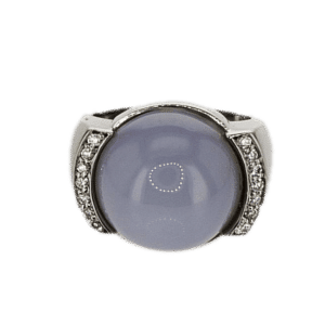 טבעת אבן קוורץ 17.00 קראט, זהב-לבן 18 קראט משובצת יהלומים