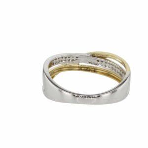 טבעת משובצת יהלומים 0.29 קראט, זהב-לבן וצהוב 14 קראט