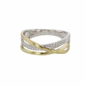 טבעת משובצת יהלומים 0.29 קראט, זהב-לבן 14 קראט