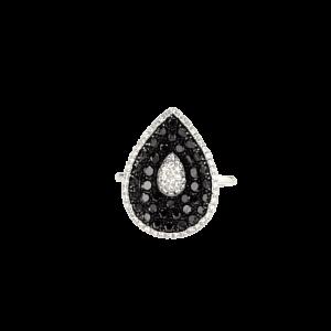 טבעת זהב לבן 14 קראט, משובצת יהלומים לבנים ושחורים 1.10 קראט