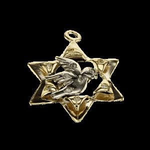תליון מגן דוד, זהב-אדום 14 קראט, משובץ יהלומים