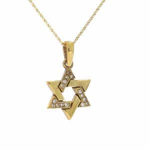 תליון מגן דוד, זהב-צהוב 14 קראט, משובץ יהלומים