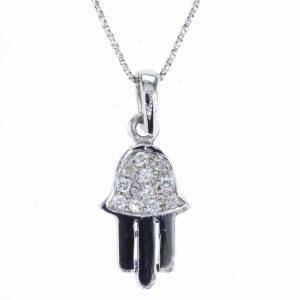 שרשרת יהלומים משובצים בתליון חמסה, זהב-לבן 14 קראט
