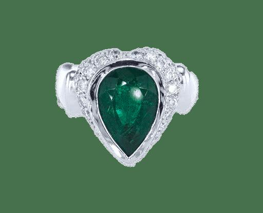 טבעת אמרלד 4.00 קראט, זהב-לבן 18 קראט, משובצת יהלומים