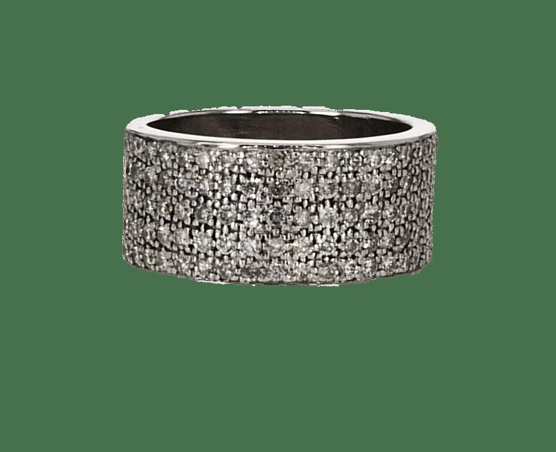 טבעת משובצת יהלומים 2.06 קראט, זהב-לבן 14 קראט