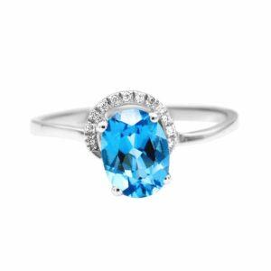 טבעת טופז-כחול 1.52 קראט, זהב-לבן 14 קראט, משובצת יהלומים