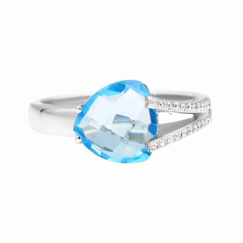 טבעת טופז-כחול 2.60 קראט, זהב-לבן 14 קראט, משובצת יהלומים