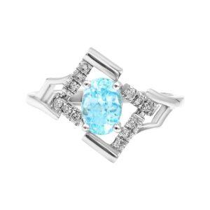 טבעת טופז-כחול 1.0 קראט, זהב-לבן 14 קראט, משובצת יהלומים