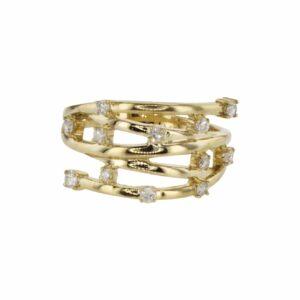 טבעת חצי איטרניטי משובצת יהלומים 0.38 קראט, זהב-צהוב 14 קראט