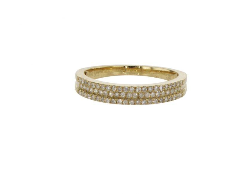 טבעת חצי איטרניטי משובצת יהלומים 0.63 קראט, זהב-צהוב 14 קראט