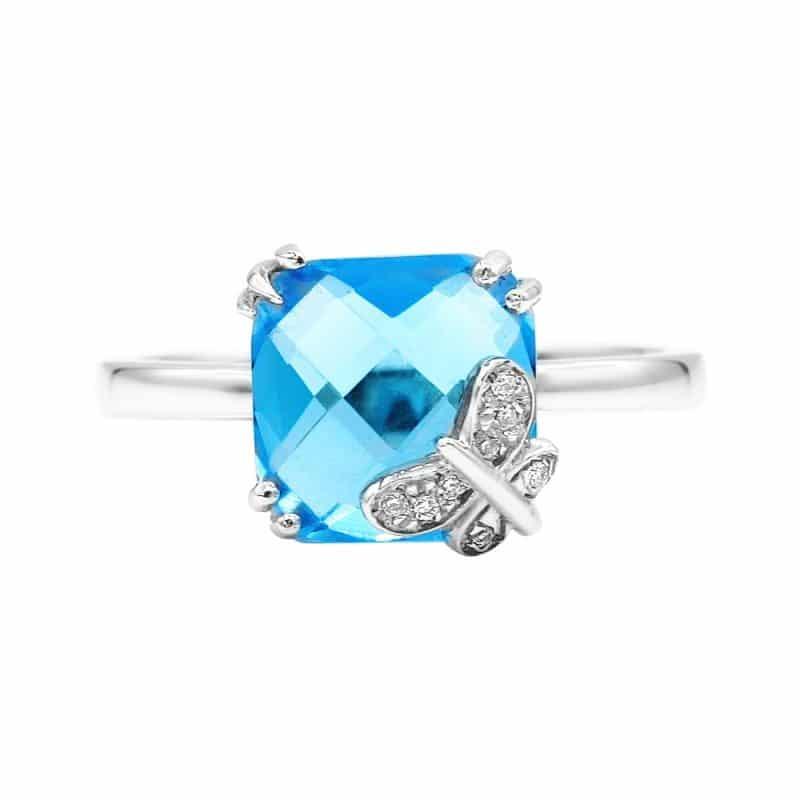 טבעת טופז-כחול 3.80 קראט, זהב-לבן 14 קראט, משובצת יהלומים