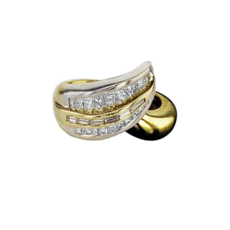טבעת משובצת יהלומים 1.50 קראט, זהב-לבן משולב זהב-צהוב 18 קראט