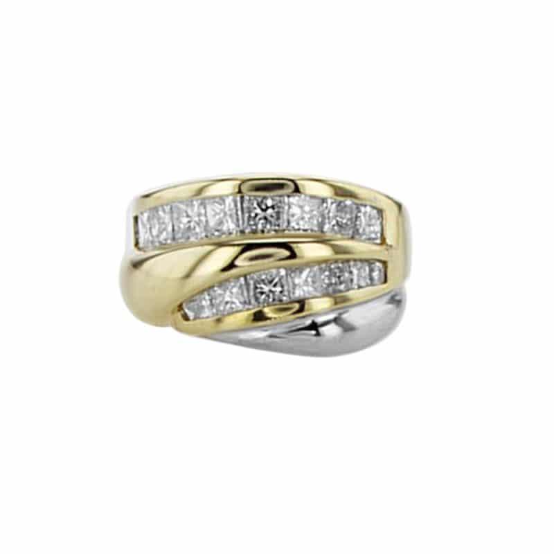 טבעת, זהב-צהוב משולב זהב-לבן 18 קראט, משובצת יהלומים