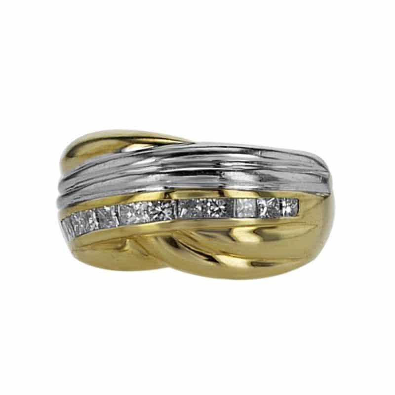 טבעת זהב-לבן משולב זהב-צהוב 18 קראט, משובצת יהלומים