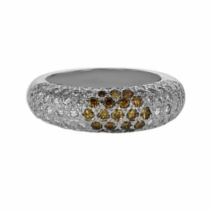 18ct white-gold ring set with 1.44ct white and yellow diamonds