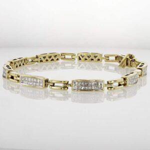 צמיד יהלומים 2.54 קראט, זהב צהוב 14 קראט