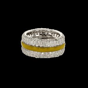 טבעת משובצת יהלומים 1.29 קראט, זהב-לבן 14 קראט