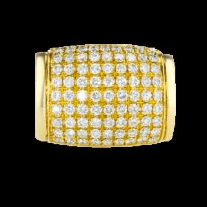 טבעת זהב-צהוב 18 קראט, משובצת יהלומים