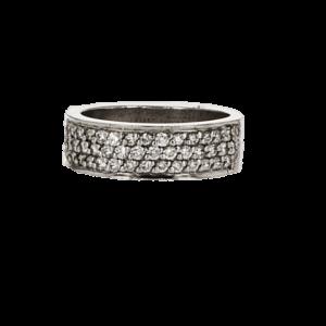 טבעת משובצת יהלומים 0.60 קראט, זהב-פלטינום 95 קראט