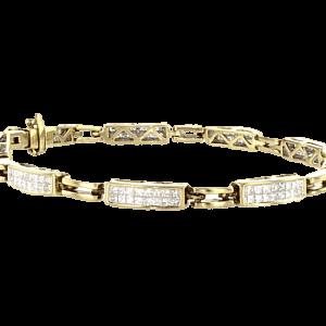 צמיד יהלומים 2.52 קראט, זהב-צהוב 14 קראט