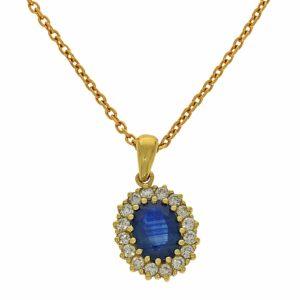 תליון ספיר 1.54 קראט, זהב-צהוב 14 קראט, משובץ יהלומים