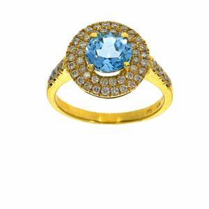 טבעת בלו טופז 1.77 קראט, זהב-צהוב 14 קראט, בשיבוץ יהלומים