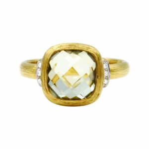 Green Amethyst gemstone in 14 karat yellow Gold Ring set with Diamonds