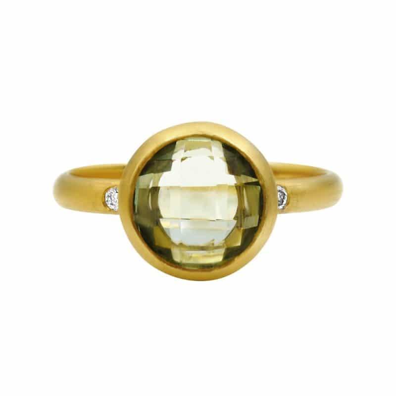 טבעת אבן אמטיסט-ירוק, זהב-צהוב 14 קראט, משובצת יהלומים