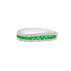 0.27 carat Emerald Ring, 14 carat white Gold, set with Diamonds
