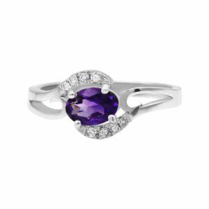 טבעת אמטיסט 0.59 קראט, זהב-לבן 14 קראט, משובצת יהלומים