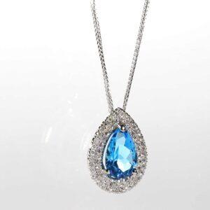 שרשרת יהלומים ואבן חן טופז-כחול משובצים בתליון זהב-לבן 14 קראט